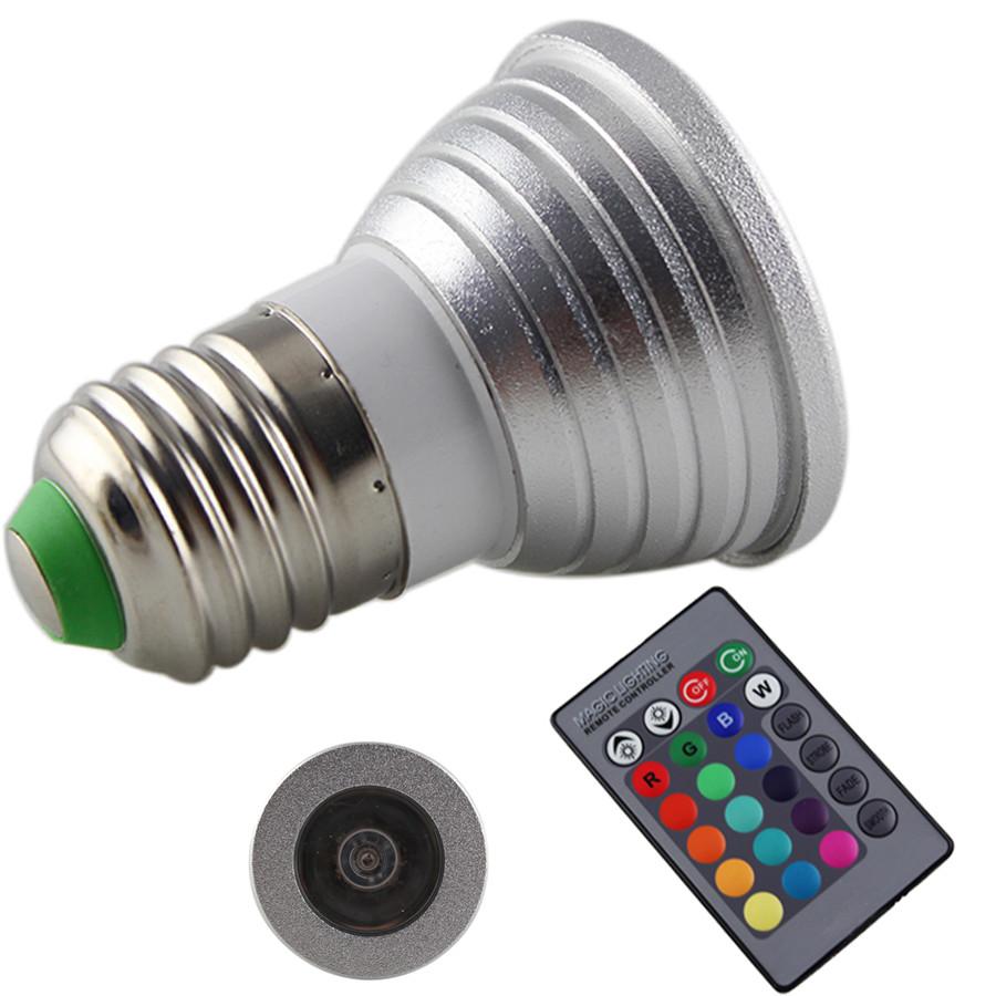 3W E27 RGB LED Light Bulb With Remote Control 16 colors Bulb With Control For Bar KTV Decoration etc(China (Mainland))