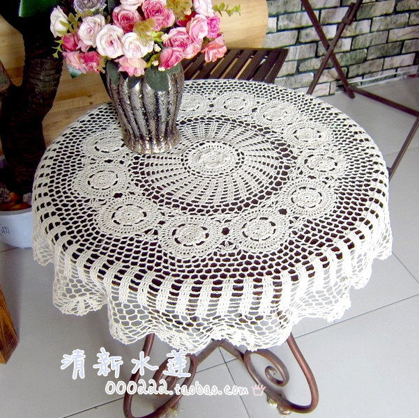 2014 new design European style lace table cloth table cover towel for home decor round table runner overlay for wedding decor(China (Mainland))