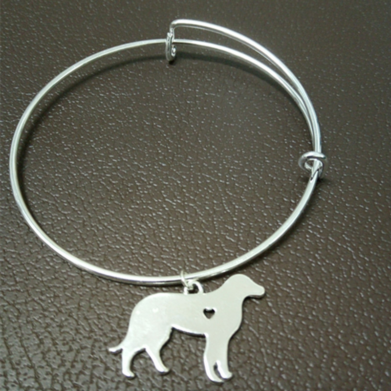 free shipping Labrador silver wire drawing effect Bangles jewelry adjustable bracelet for women(China (Mainland))