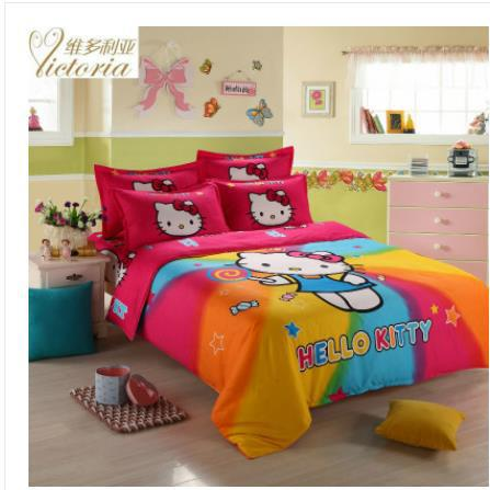 Hot sale 4pcs red hello Kitty bedding set queen king full
