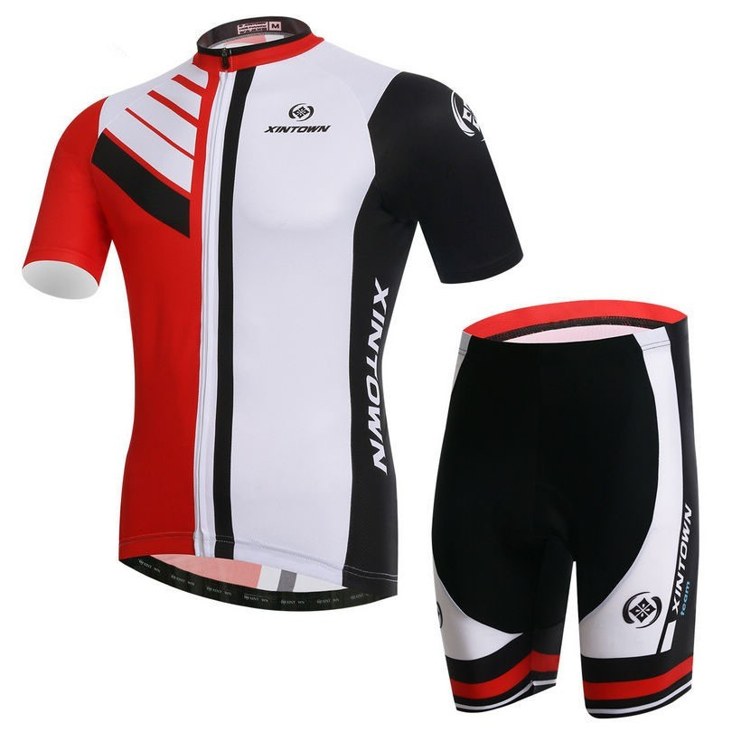 XINTOWN New Men Team Bike Clothing Suits Cycling Wear Shirts mtb Garment Clothes Cycling Jersey Sets Red White Bicycle Top(China (Mainland))