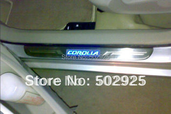 Free shipping Toyota corolla 2006-2011 4 door sedan Stainless Steel Scuff Plate with LED light (DHL EMS UPS CPAM)