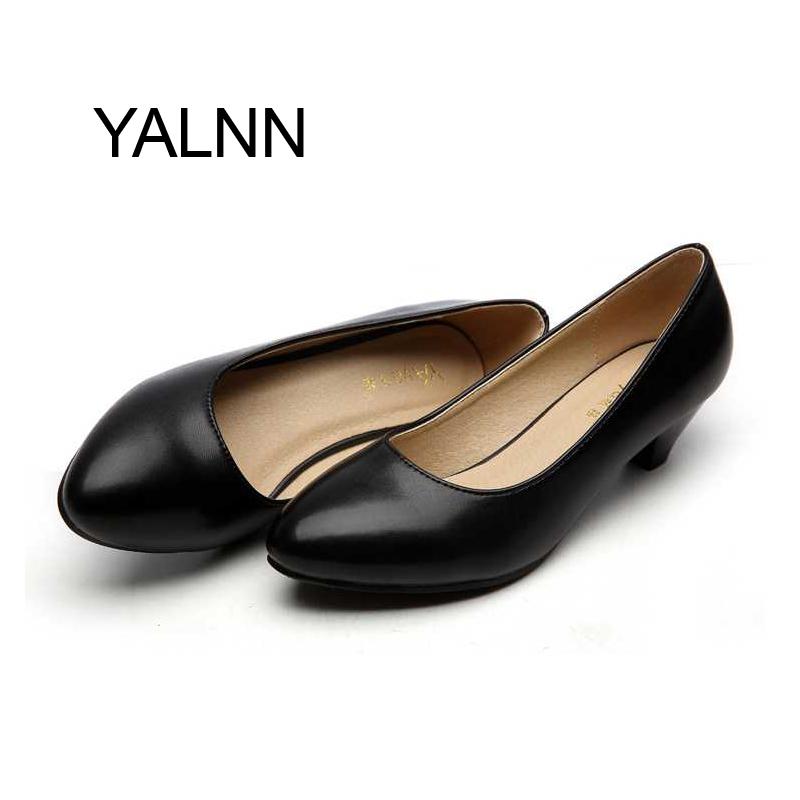 YALNN Fashion Black 3CM High Heels Pump Mature Women Shoes Dress Pointed Toe Office Lady Shallow Dress Pumps Women Shoes(China (Mainland))