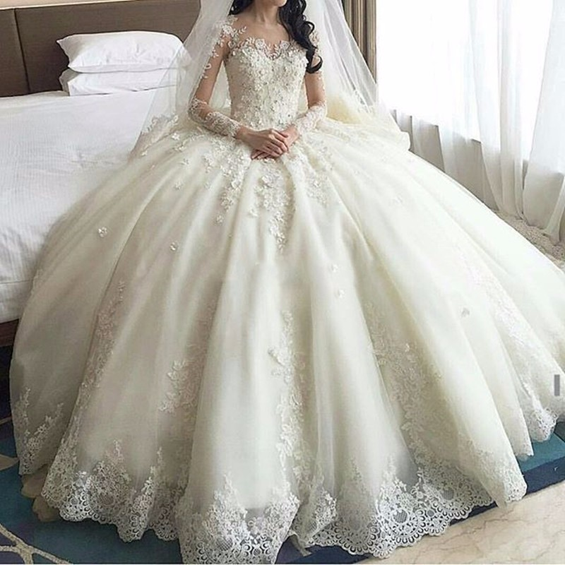 2016 abiti da sposa Romantic Ball Gown China Wedding Dresses Long Sleeve Lace Appliques Bridal Gowns Vestido De Noiva(China (Mainland))
