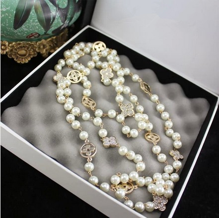 2015 Fashion Vintage Jewelry Pearl Necklace Four Leaf Long Sweater Chain Necklace For Women X022