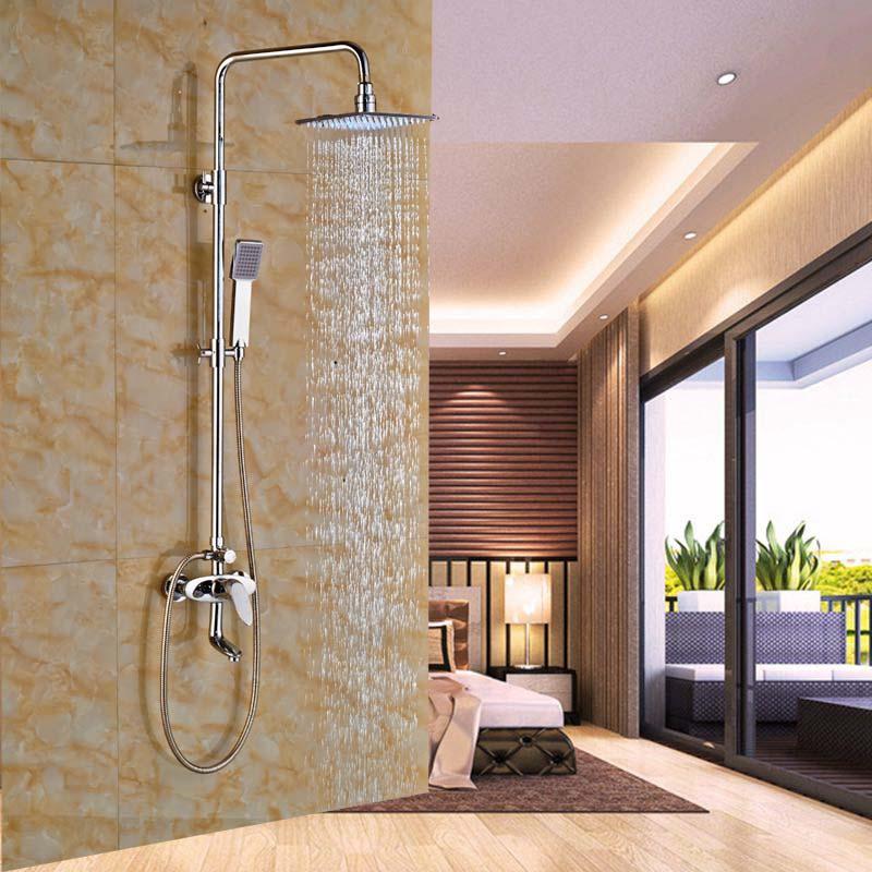 "LED 8"" Rain Shower Column Tub Spout Mixer Tap Chrome Shower Sprayer W/ Hand Shower(China (Mainland))"