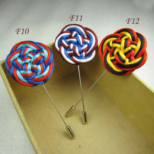 12pcs/lot Fashion chinese knot flower men stick pin handmade flower lapel pin brooch pins Classic Assorted(China (Mainland))
