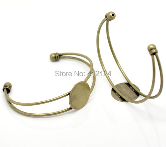 60Pcs Bronze Tone Bangles Bracelets Cameo Cabochon Round Setting DIY Jewelry Findings 16cm<br><br>Aliexpress