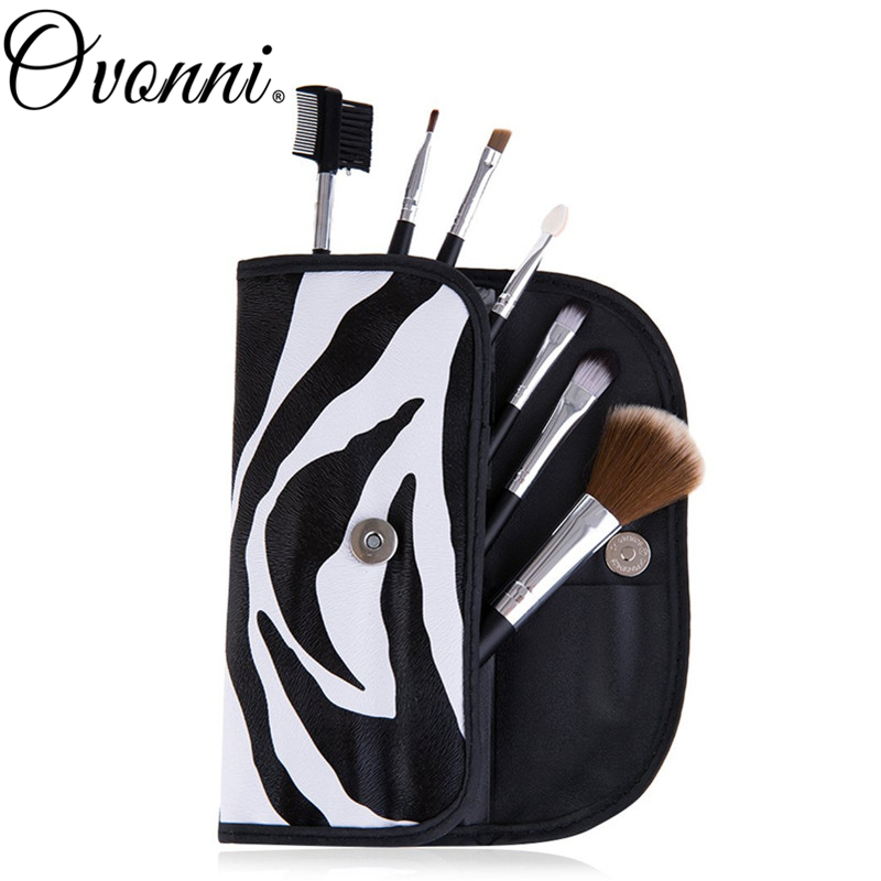 7pcs Women Ladies Makeup Brushes Zebra Print Toiletry Pouch Bag Cosemtic Brushes Beauty Make Up Tools Travel Brush Roll Case Set(China (Mainland))