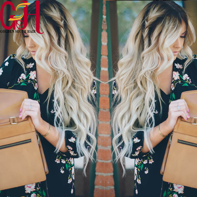 Fashion Two Tone1bT#613 Virgin Human Hair Wavy Wigs Glueless Lace Front wigs Ombre Full Lace Wave Wigs with baby hair  for women<br><br>Aliexpress
