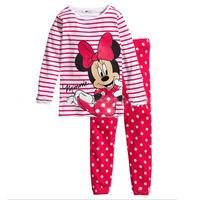 к 2015 году дети девочек мальчиков детей одежда наборы Минни мышь костюмы 2 шт пижамы с длинным рукавом мультфильм пижамы