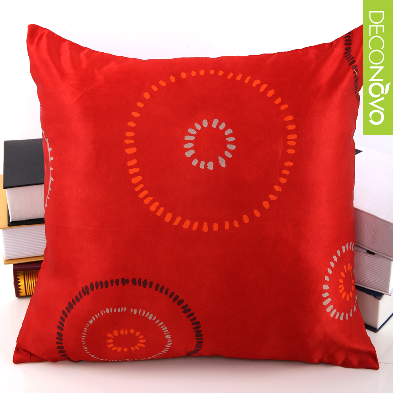 43cm square satin red pillow decorative bed home wedding decoration car pillow cover with zipper ...