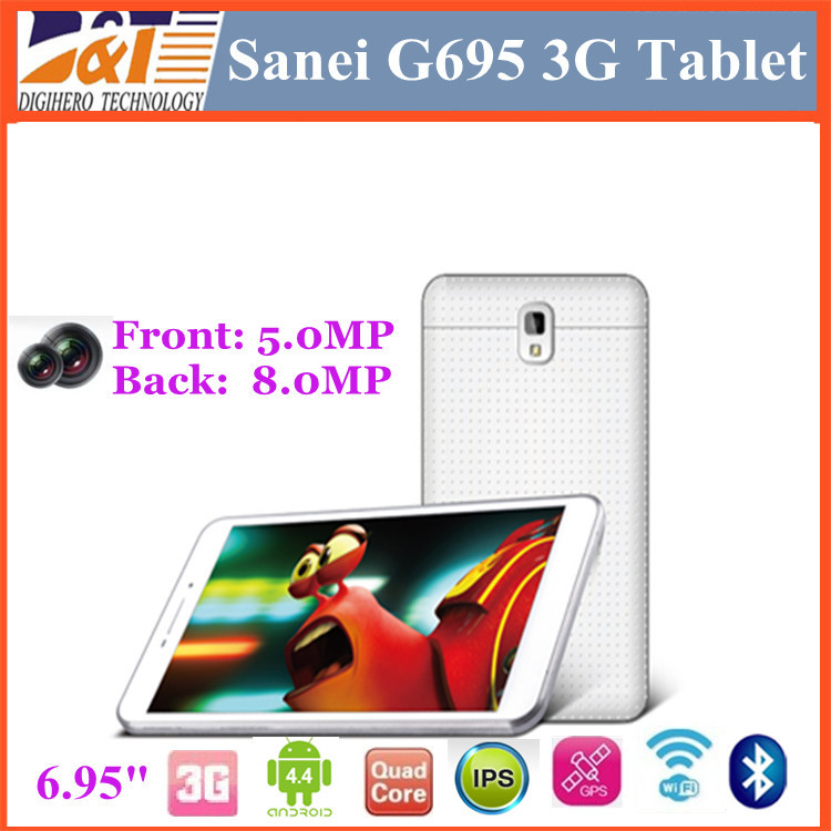 NEW Cheap Sanei G695 3G Phone Call Tablet 7inch MTK8382 Quad Core 8GB ROM Android 4.4 Bluetooth GPS Dual SIM slot 8.0MP(China (Mainland))