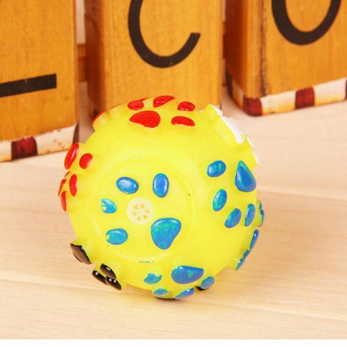 Training Balls Toys Lovely Footprint Design Voice Sound pets Dog Ball Sounder Squeeze Squeaky Toy Practice Squeaker Chew Play(China (Mainland))