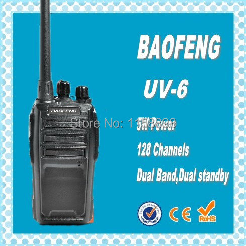 DHL freeshipping Baofeng uv6 UV-6 dual band VHF UHF 2 ways Radio 128 Channel 5W handie talkie best for Ham,hotel,drivers,hunting(China (Mainland))