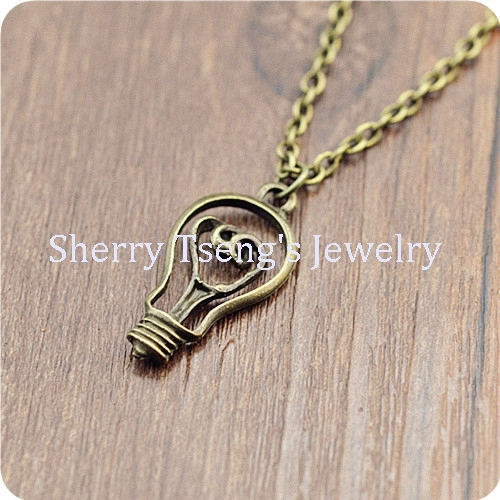 10pcs antique bronze alloy charm bulb pendant necklace with chain vintage style jewelry(China (Mainland))