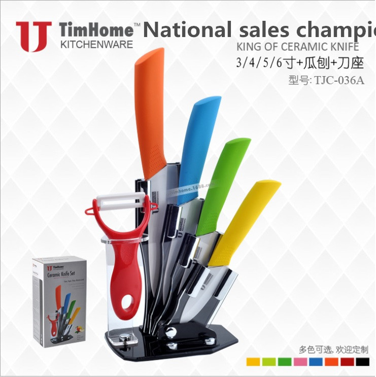 "High Quality Ceramic Knife Set Chef's Kitchen Knives 3"" 4"" 5"" 6"" inch + Peeler + Acrylic Holder Multi Option(China (Mainland))"