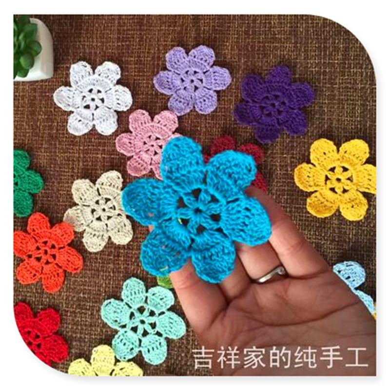 20 pics 7cm lace crochet applique DIY flower patches for clothes decoration applique sew on flowers felt mats(China (Mainland))