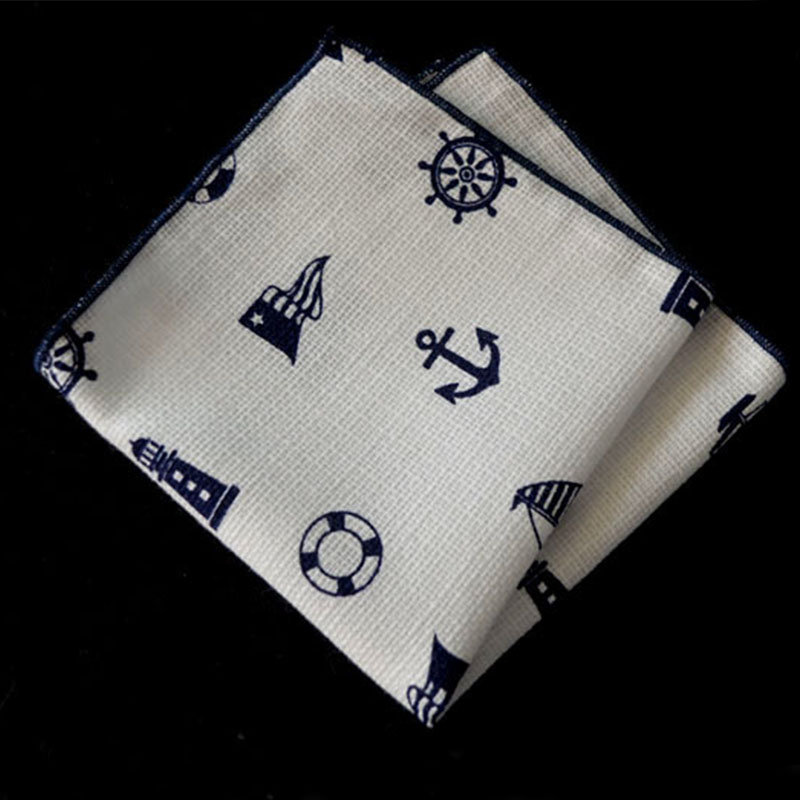 Men's Suits Cotton Handkerchiefs Navy Sailing Printing Pocket Square Hankies Men's Business Casual Square Pockets Hanky(China (Mainland))