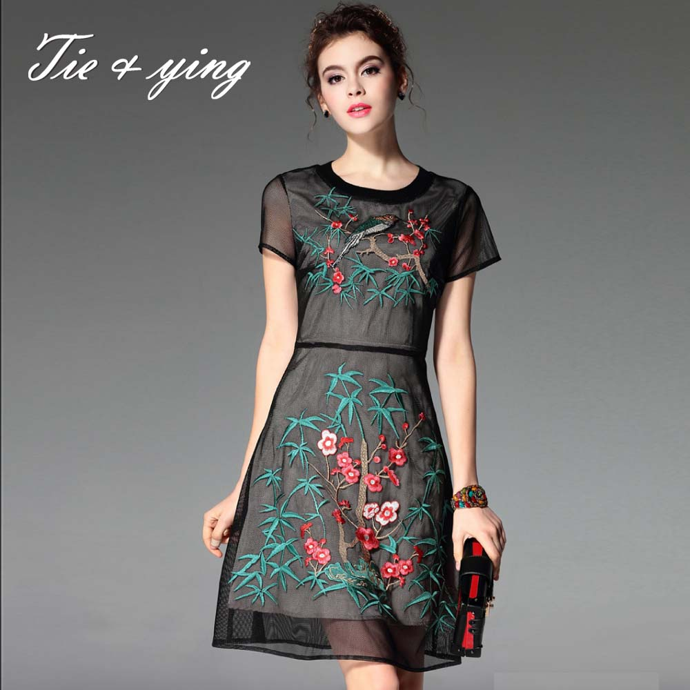 High-end women beautiful dresses with flower Chinese style vintage royal embroidery sleeveless plus size slim mesh dresses S-XXL(China (Mainland))