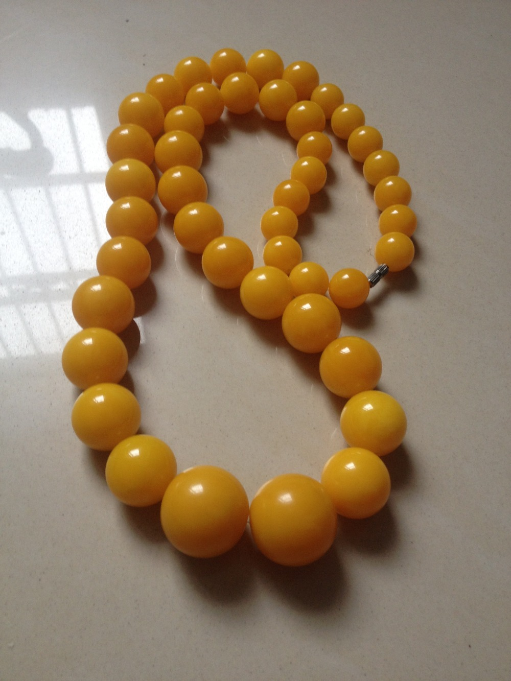 Antique Vintage Natural Baltic Egg Yolk Amber Beads Necklace 120g(China (Mainland))