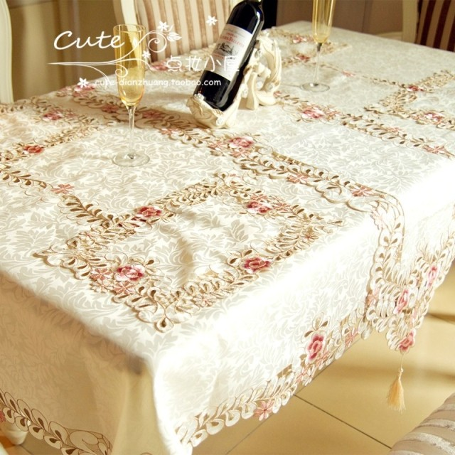 Embroidered table cloth fabric flower cutout table cloth silks and satins flower tablecloth table runner round table cloth(China (Mainland))