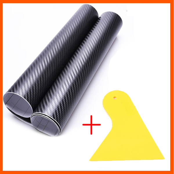 127*30CM 3D Carbon Fiber Vinyl Film Car Sticker Waterproof DIY Car Styling Wrap+Carbon Fiber Scraper Tools Auto Accessories(China (Mainland))