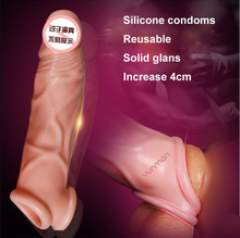 Adult sex products medical silicone reusable condoms male penis lengthening soft contex dick ring couples sex toys for men 2637(China (Mainland))