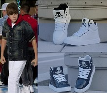 2013 New Justin Bieber Shoes For Men,Men's High Top Flat Skull Shoes Casual Sneakers Eur36-44(China (Mainland))