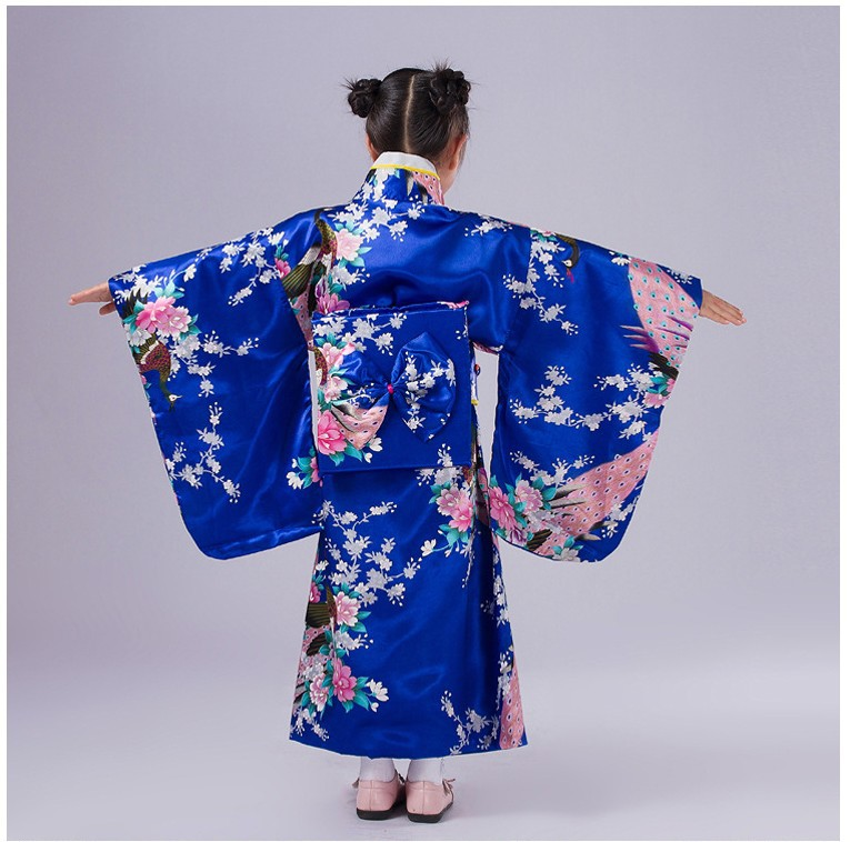 синий японский ребенок девочка кимоно платье