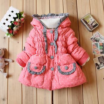 Jaqueta прямых продаж Casacos зима Recem Nascido утка узор в горошек девочки-младенцы шерстяная ткань длинная снег