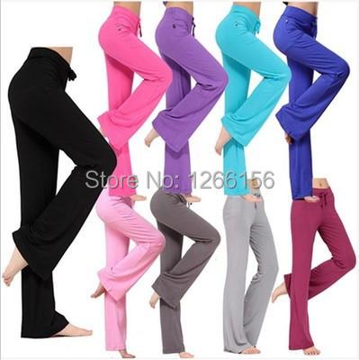 Women's sport Pants 2015 New Elastic modal fabrics high waist pants Sports dance trousers Girl baggy Sweatpants women 11 Color(China (Mainland))