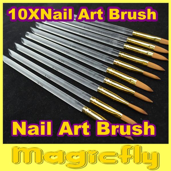 [PFL-025]10XProfessional Nail Art Brush Set for UV Gel Builder Nal Brushes Dropshipping +Free Shipping
