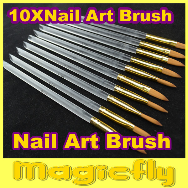 [PFL-025]10XProfessional Nail Art Brush Set for UV Gel Builder Nal Brushes Dropshipping