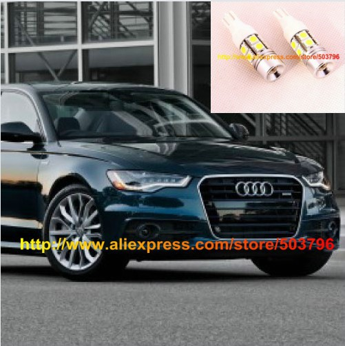 Free Shipping 2pcs/lot T10 T15 10SMD 5050 + Cree Q5 LED Backup Reverse Lights For Audi A6 C7 2011+(China (Mainland))