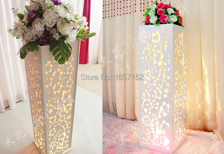 Wedding carved pillar wedding stand with LED light wedding road lead carved hollow flower Wedding stage decoration(China (Mainland))