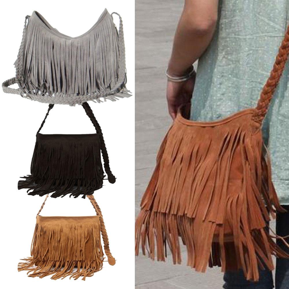 Hot Sale Fashion Women Suede Weave Tassel Shoulder Bag Messenger Bag Fringe Handbags High Quality(China (Mainland))