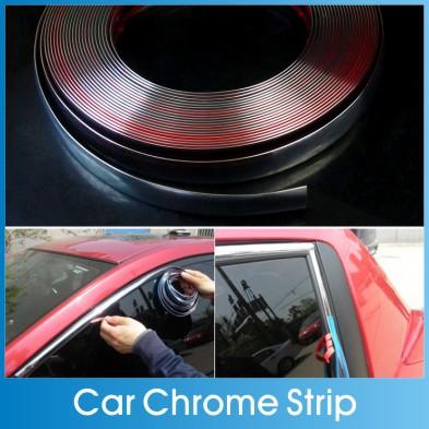 6mm-30mm Car Chrome Decor Strip Sticker Silver Auto Styling Moulding Trim Strip Auto Body Window Exterior Decoration(China (Mainland))