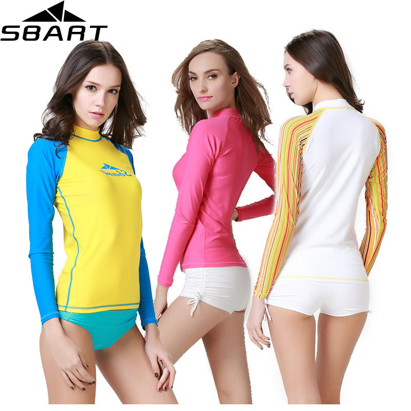 SBART Rashguard Women Swim Shirts Womens Rash Guard Swimwear Lycra Surf Rushguard Top Long Sleeve Swimsuit Free UPF 50 UV O916(China (Mainland))