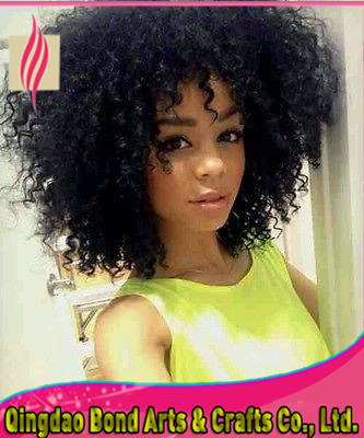 Фотография Afro Kinky Curly Peruvian Virgin Human Glueless Full Lace Wig & Front Lace Wig For Black Women Natural Color Free shipping