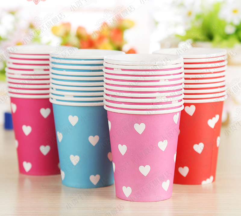 10pc/lot Party cup holiday party wedding party disposable cups paper cup love(China (Mainland))