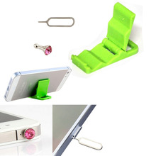 1Set Sim Card Needle Anti Dust Plugs  Phone Holder For iphone 5 5S 4 4S 3GS Mobile phone