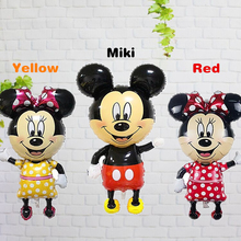 Large size Minnie Mickey foil balloons red Bowknot standing 46inch minnie Poa dot wedding birthday party  supplies globos(China (Mainland))