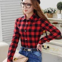 2016 Spring New Fashion Casual Lapel Plus Size Blouses women plaid shirt Checks Flannel Shirts Female Long Sleeve Tops Blouse(China (Mainland))