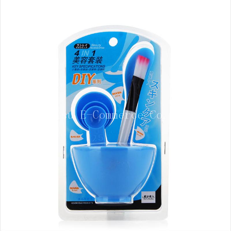 50pcs Women Beauty Set 4 in 1 DIY Facial Mask Tool Face Mask Bowl+ Stir Stick + Mask Brush + Measuring Spoon Makeup Tool Kits(China (Mainland))