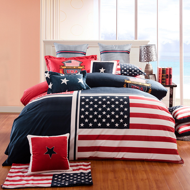 100 cotton fabric british and american flag bedding set. Black Bedroom Furniture Sets. Home Design Ideas