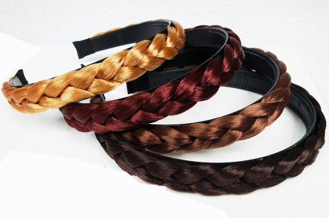 free shipping NEW BRAIDED PLAITED HEADBAND HAIRBAND BLACK BRAID PLAIT biger and thicker 24pcs/lot