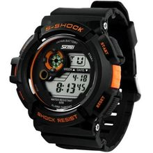 Men LED Digital Date Alarm Waterproof Rubber Sports Army Watch Wristwatch Orange(China (Mainland))