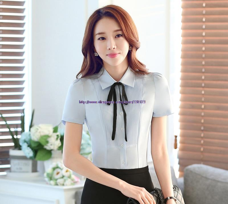 Summer Women Bow Tie Turn-down Collar Front Pleated Short Sleeved Shirt Blouse Business Office Work Tops(China (Mainland))