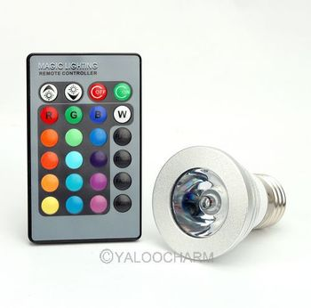 New Wholesale 110-220V 3W E27 Magic Lighting RGB LED Licht Lampe Birne IR Fernbedienung 80187